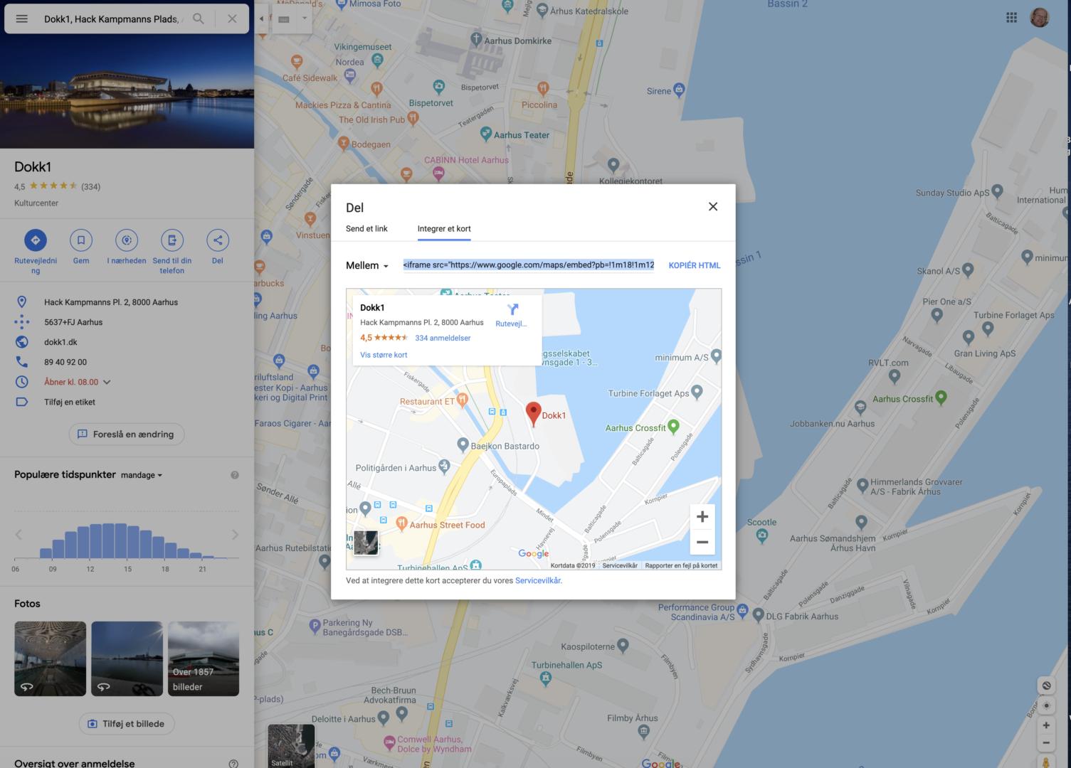 Googlemaps ind på siden
