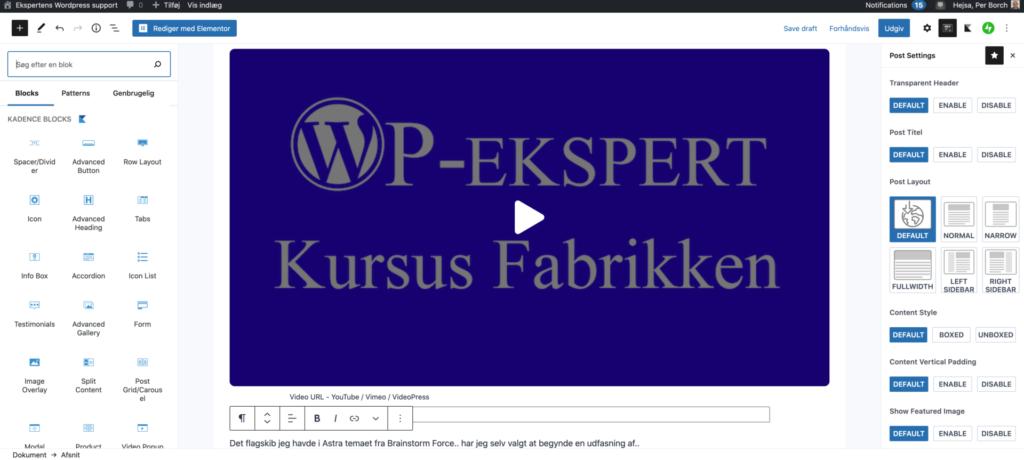 WordPress edit post backend wp-eksperten i danmark