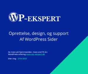 Hjælp til WordPress og Woocommerce sider