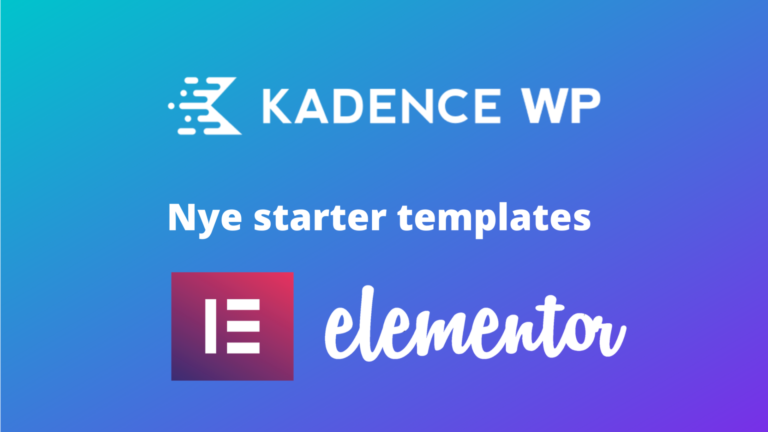 Kadence WP starter templates til elementor